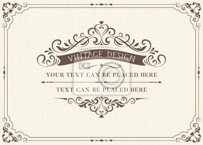 Fototapete Verzieren Weinlesekartenentwurf mit dekorativem blüht Rahmen. Gebrauch für Hochzeitseinladungen, königliche Bescheinigungen, Grußkarten, Menüs, Abdeckungen, Plakate, Broschüren und Flieger. Abbildung.