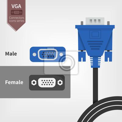 Vga-anschluss und steckdosen fototapete • fototapeten weiblich, blau ...