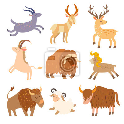 Vieh wildes Set. Cartoon flache Tiere. Vektor-Illustration, auf weißem hintergrund isolieren