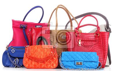 Viele Farb Frauen Taschen auf weiß