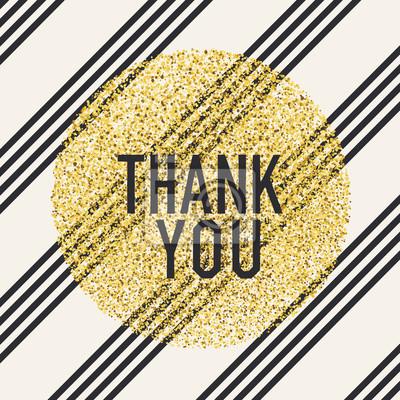 Vielen Dank. Einladungskartenentwurfsschablone. Diagonale Linien Muster und goldene chaotische Punkte Kreis geformt. Vektor-Einladung Design Hintergrund.