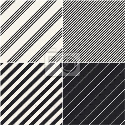 Vier diagonale Muster Sammlung. Diagonale Linien nahtlose Schwarz-Weiß-Muster. Wiederholen Sie gerade monochrome Streifen Textur Hintergrund. Geometrische Vektor Hintergrund.