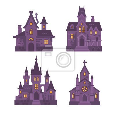 Vier flache abbildung der halloween-gebäude. hexenhütte, spukhaus ...