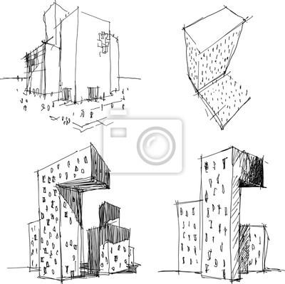 Fototapete Vier Hand Gezeichnete Architekturen Skizzen Einer Modernen Abstrakten Architektur