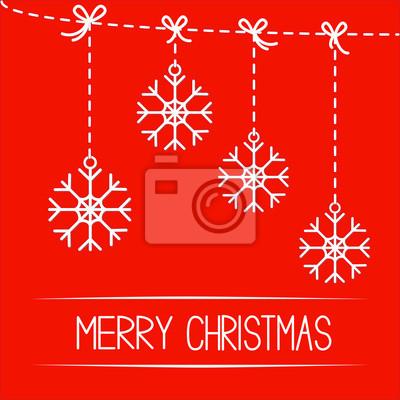 Vier hängenden Schneeflocken. Merry Christmas card.