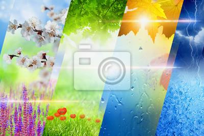 Vier Jahreszeiten Collage, saisonale Hintergrund