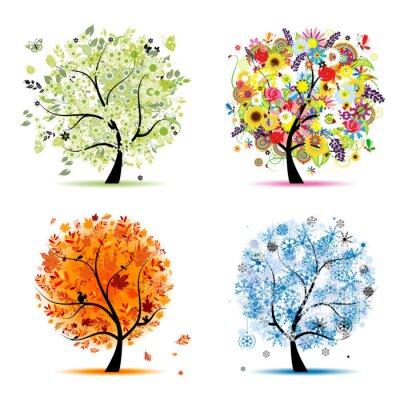 Vier Jahreszeiten - Frühling, Sommer, Herbst, Winter. Kunst Bäume