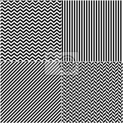 Vier klassische black_and weiße Linien nahtlose Muster Sammlung. Diagonal, Chevron, Zickzack und vertikale gerade Linien nahtlose monochrome Muster. Monochrome Streifen Textur Hintergrund.