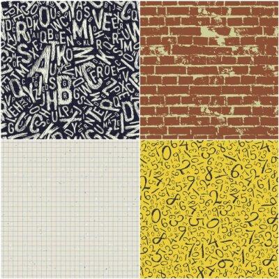 Vier pädagogische nahtlose Muster Vektor-Sammlung. Zurück zu Schule Hintergründe Vektor-Set