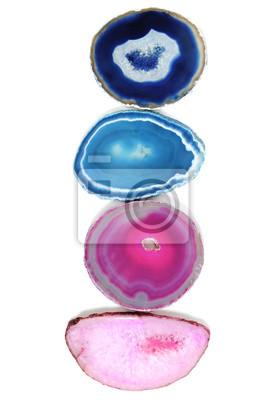 Vier Rosa Blau Lila Turkis Achat Stein In Einer Vertikalen