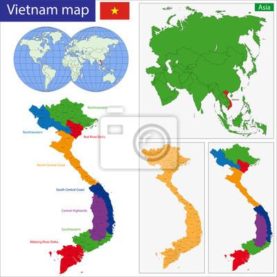 Vietnam map fototapete • fototapeten sozialistischen, administrative ...