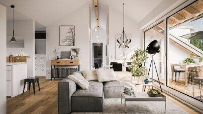 Fototapete view inside modern luxury attic loft apartment - 3d rendering