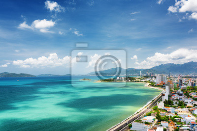 Fototapete View of Nha Trang Bay with beautiful colors of water in Vietnam