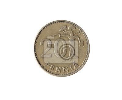 Vintage 20 Pennia Münze Von Finnland 1963 Gemacht Fototapete