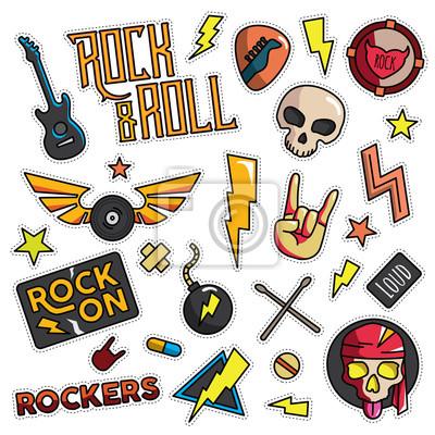 Fototapete: Vintage 80er 90er jahre rock and roll mode cartoon illustration