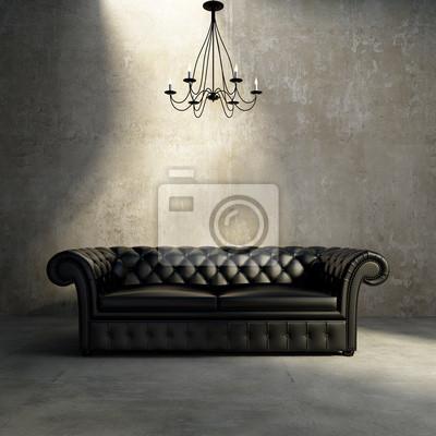 Vintage Antique Getuftet Moderner Klassiker Schwarzen Sofa Grunge