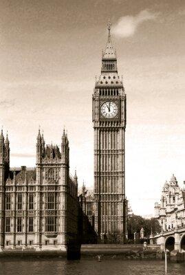Fototapete Vintage Aussicht auf Big Ben Uhrturm in London. Sepia getönten.