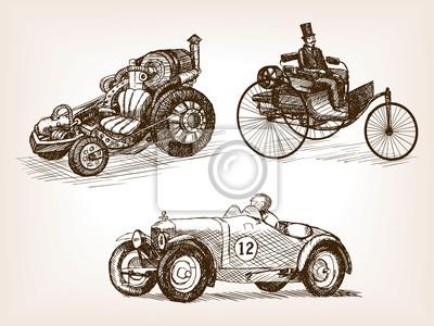 Vintage autos satz skizze stil vektor-illustration fototapete ...