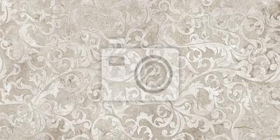 Fototapete vintage background with floral damask pattern