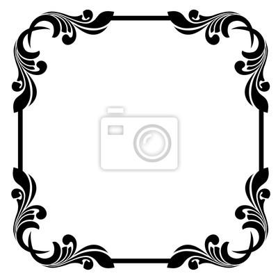 Vintage Barock Rahmen Scroll Ornament Gravur Grenze Floral Retro