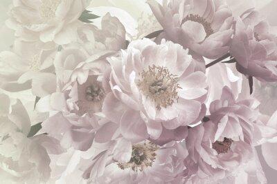 Fototapete Vintage bouquet of beautiful garden flowers peonies. Pastel colors.