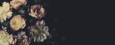 Fototapete Vintage bouquet of beautiful peonies on black. Floristic decoration. Floral background. Baroque old fashiones style. Natural flowers pattern wallpaper or greeting card