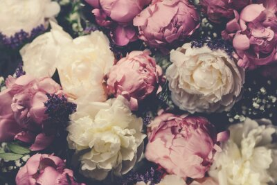 Fototapete Vintage bouquet of pink and white peonies. Floristic decoration. Floral background. Baroque old fashiones style image. Natural flowers pattern wallpaper or greeting card