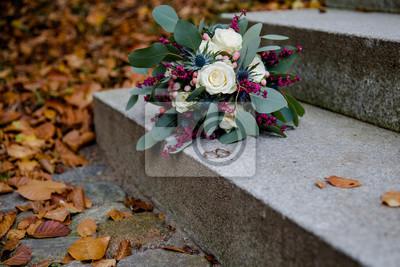 Vintage Brautstrauss Mit Eheringen Und Eukalyptus Fototapete