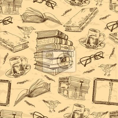 Vintage Bücher nahtlose Muster