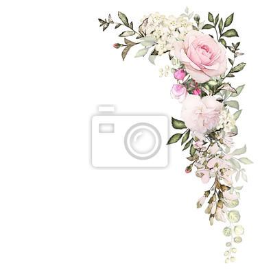 Fototapete Vintage Card, Aquarell Hochzeit Einladung Design Mit Rosa Rose,  Knospe Und Blätter.