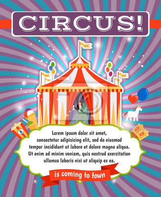 Fototapete Vintage Circus Poster Template