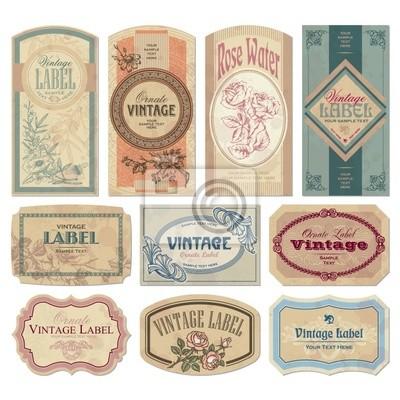 Fototapete Vintage Etiketten set (vector)