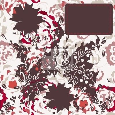 Vintage floral stieg Karte mit dem Etikett