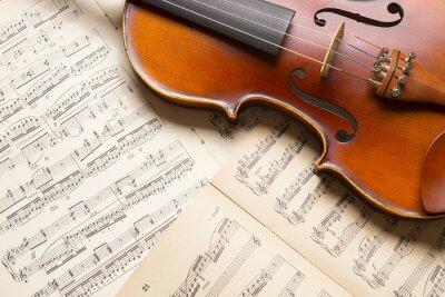 Fototapete Vintage Geige auf die Noten.