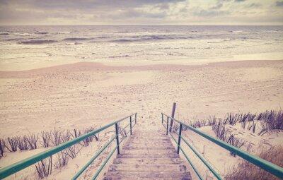 Fototapete Vintage getönten Holztreppen am Strand