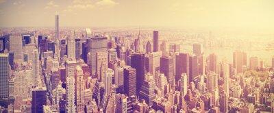 Fototapete Vintage getönten Manhattan Skyline bei Sonnenuntergang, NYC, USA.