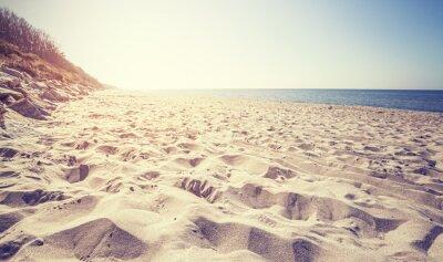 Fototapete Vintage getönten Strand bei Sonnenuntergang, Rewal in Polen.