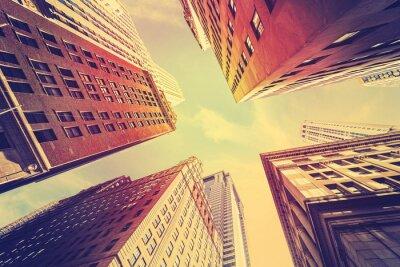 Fototapete Vintage getönten Wolkenkratzer in Manhattan bei Sonnenuntergang, NYC.