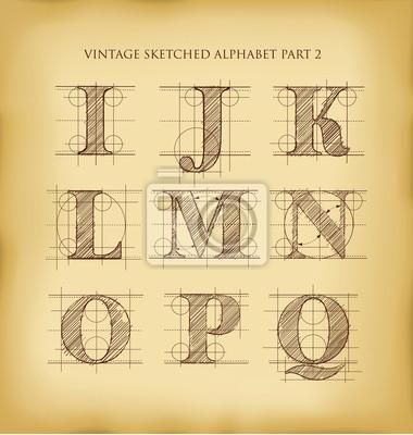 Vintage Hand gezeichnet Alphabet
