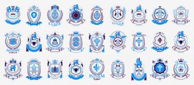 Fototapete Vintage heraldic emblems vector big set, antique heraldry symbolic badges and awards collection, classic style design elements, family emblems.