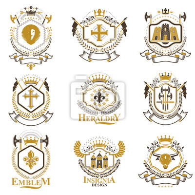 Vintage-heraldik-design-vorlagen, vektor-embleme mit vogelflügeln ...