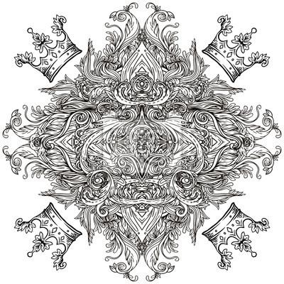 Vintage Hintergrund Barock Muster Rahmen Mit Kronen Vektor