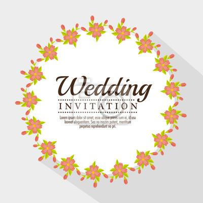 Fototapete Vintage Hochzeit Einladung Mit Floralen Elementen  Vektor Illustration Grafik Design