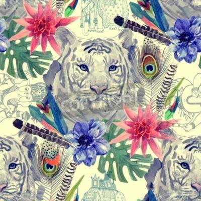 Fototapete Vintage indischen Stil Tiger Kopf Muster. Hand gezeichnete Aquarellabbildung.