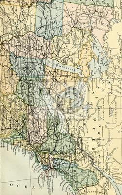 Vintage karte der usa - anfang 1800 usa karten fototapete ...