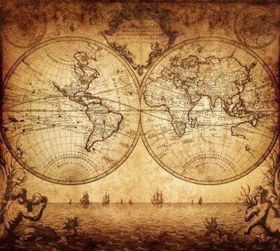 Fototapete Vintage Karte der Welt 1733