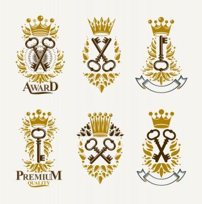 Fototapete Vintage keys vector logos or emblems, heraldic design elements big set, classic style heraldry turnkeys symbols, antique secrets and locks.