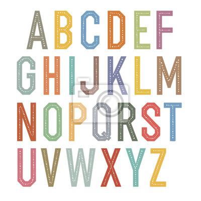 Vintage Kinder Alphabet. Bunte Vektor-Buchstaben