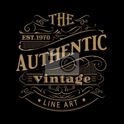 Fototapete Vintage-Label westlichen Hand gezeichneten antiken Rahmen Typografie Vektor