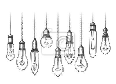 Fototapete Vintage lightbulbs sketch